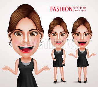 Woman Vector Character Wearing Stylish Dress Stock Vector