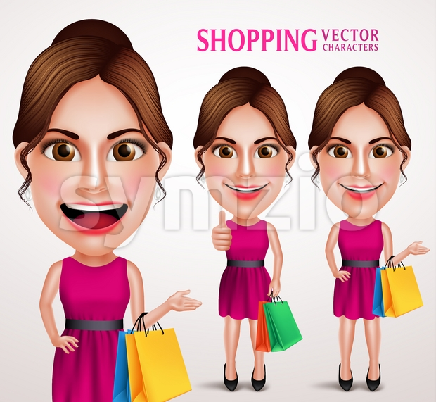Fashion Woman Vector Character Holding Shopping Bags Stock Vector