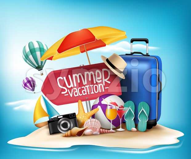 Vacation Design for Summer in 3D Vector Stock Vector