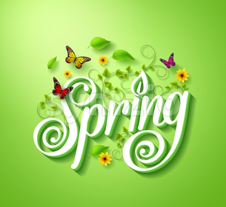 3D Spring Word Typography Vector Concept Stock Vector