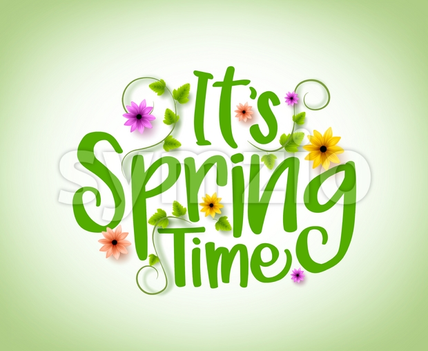 Spring Time Vector Design with 3D Realistic Fresh Flowers Stock Vector
