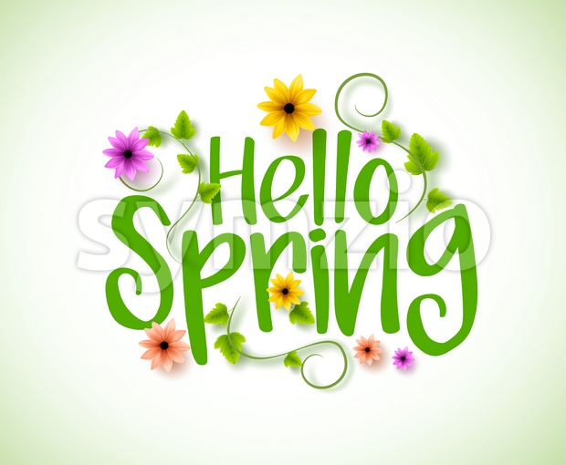 Hello Spring Vector Design with 3D Realistic Fresh Flowers Stock Vector