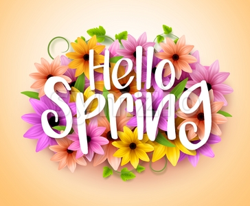 Hello Spring Poster Design in Vector Flowers Stock Vector