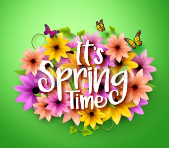 Spring Time Poster Design in Vector Flowers Stock Vector