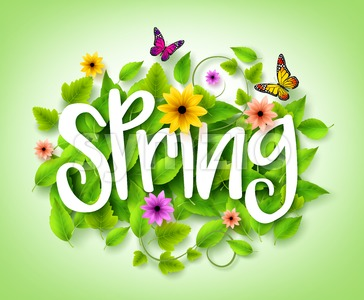 Spring Title Text with Vector Green Leaves in the Background Stock Vector