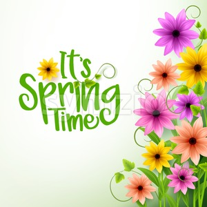 Vector Spring Time Text in White Background Stock Vector