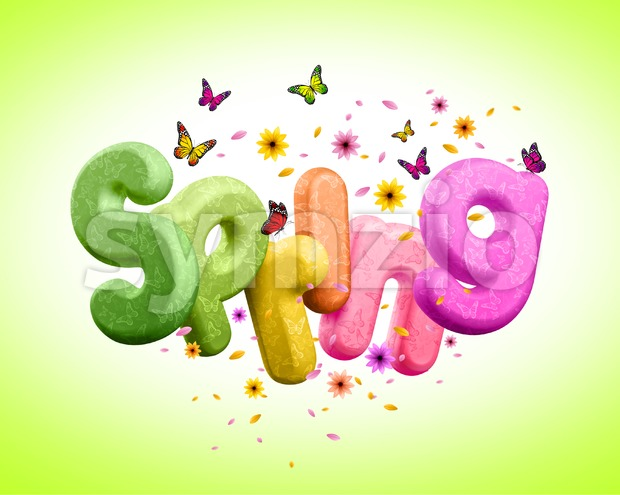 Spring 3D Rendered Text with Colorful Flowers and Flying Butterflies for Spring Season. Spring Poster Design Illustration. This Spring Design is a ...