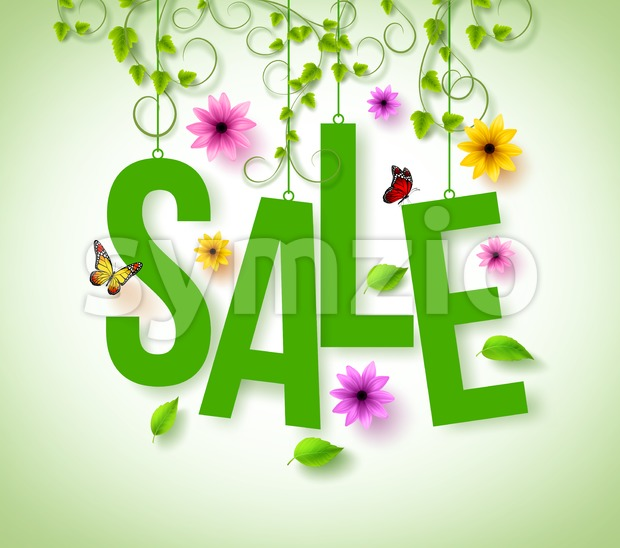 Spring Sale Hanging with Vector Vines Stock Vector