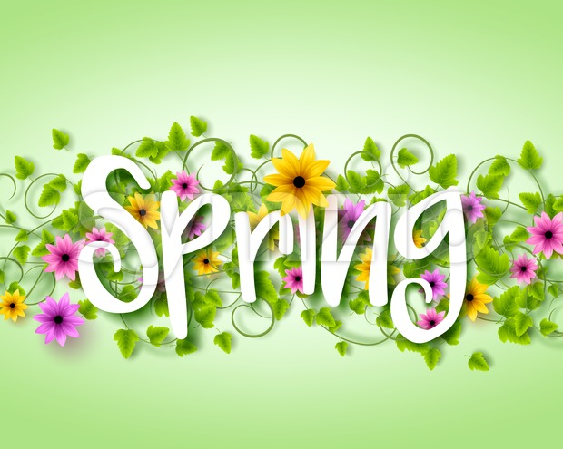 Vector Spring Text Design with Colorful Realistic Elements like Flowers and Vines in the Background in Vector Illustration. This beautiful spring vector ...