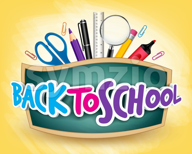 Back to School Design Vector 3D Realistic Stock Vector