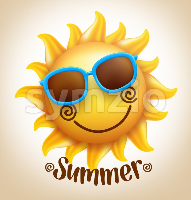 3D Realistic Happy Smiling Cute Sun Vector with Colorful Sunglasses with Summer Title in Vector Illustration. This beautiful summer sun vector ...
