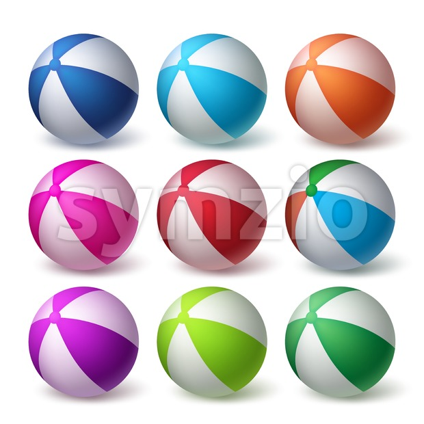 Beach Balls Vector Set in Colorful 3D Realistic Stock Vector