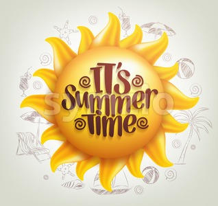 Vector Sun with Summer Time Title Stock Vector