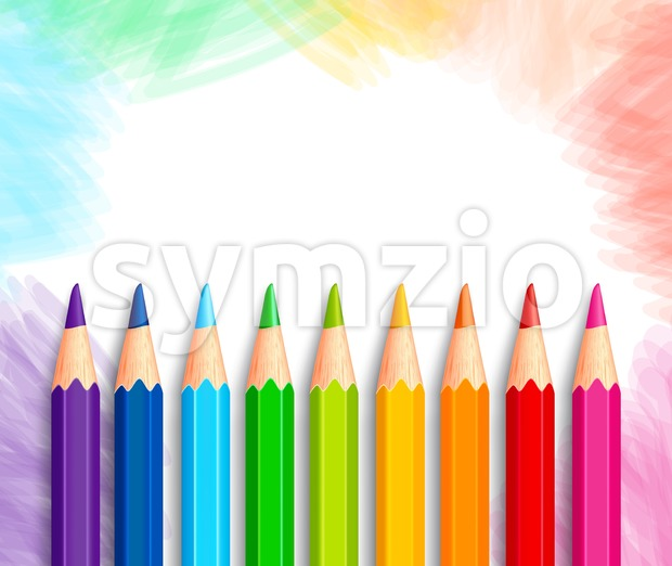 Realistic 3D Vector Colored Pencils Background Stock Vector
