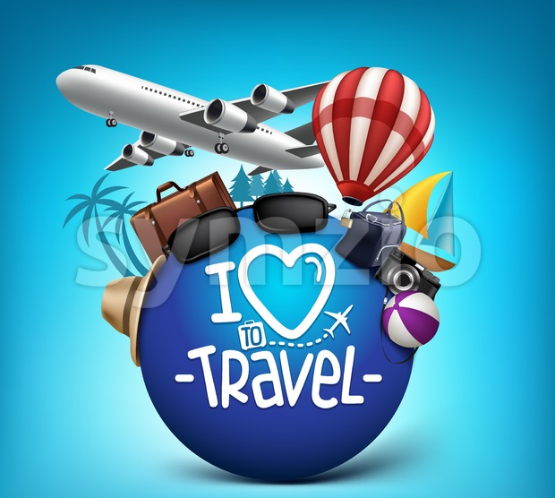 3D Realistic Travel and Tour Poster Design Around the World with Summer Elements Vector Illustration. This vector summer illustration was design with ...