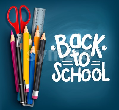 Vector Back to School Title with School Items Stock Vector
