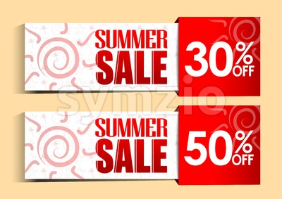 Summer Sale Tags and Signs with Sun Stock Vector