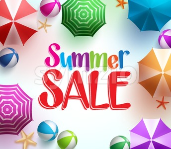 Summer Sale in Colorful Umbrella Background Stock Vector