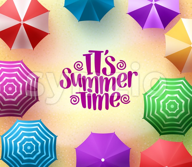 Colorful Beach Umbrellas Background with Summer Time Stock Vector