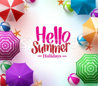 Hello Summer Background with Colorful Beach Umbrella Stock Vector