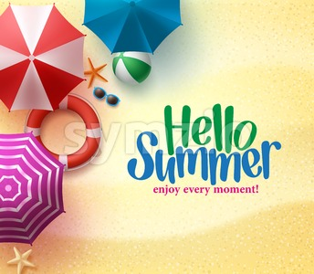 Hello Summer Background with Colorful Umbrella Stock Vector