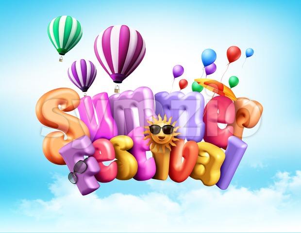 Summer Festival Design Illustration in 3D Stock Photo