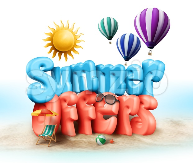 Summer Offers Design Illustration in 3D Rendered Stock Photo