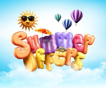 Summer Offers Poster Design Illustration in 3D Stock Photo