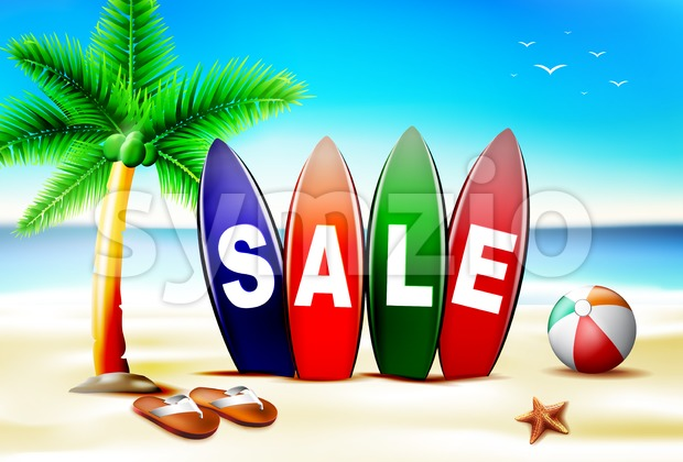 Beach Summer Sale in the Beach Stock Vector