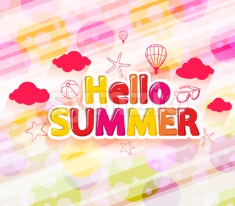 Colorful Hello Summer with Summer Icons Stock Vector