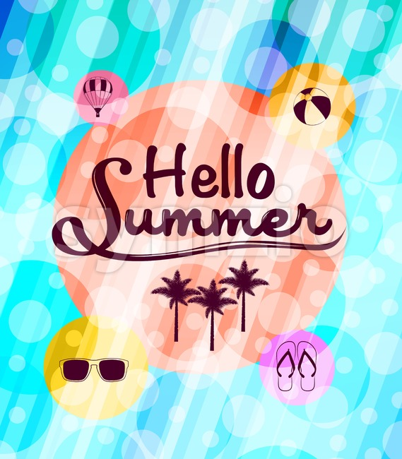 Hello Summer with Summer Icons Stock Vector