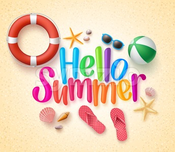 Hello Summer Vector Illustration in the Sand Stock Vector