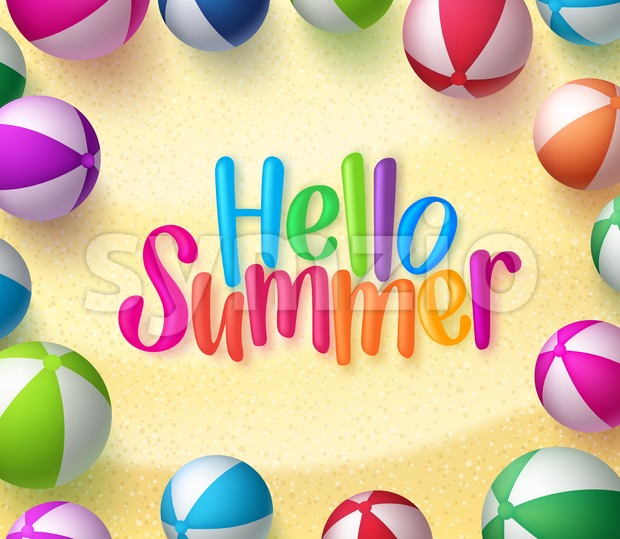 Vector Beach Ball Background with Hello Summer Text in the Sand for Summer Season in Vector Illustration. This colorfulsummer vector ...