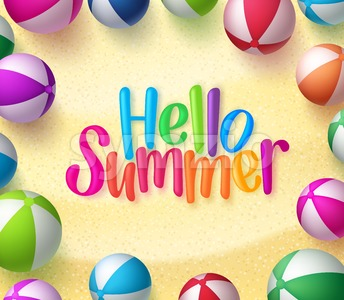 Vector Beach Ball Background with Hello Summer Stock Vector