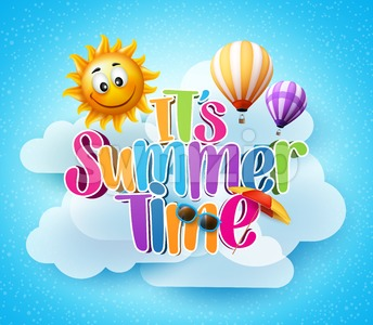 Vector Summer Time Text in the Blue Sky Background Stock Vector
