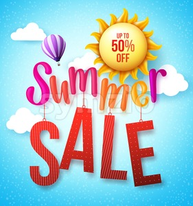 Summer Sale Vector Design Concept Hanging Stock Vector