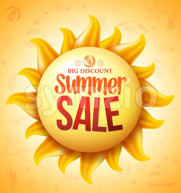 Vector Sun with Summer Sale Discount Text Stock Vector