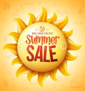 Vector Sun with Summer Sale Discount Text Stock Vector