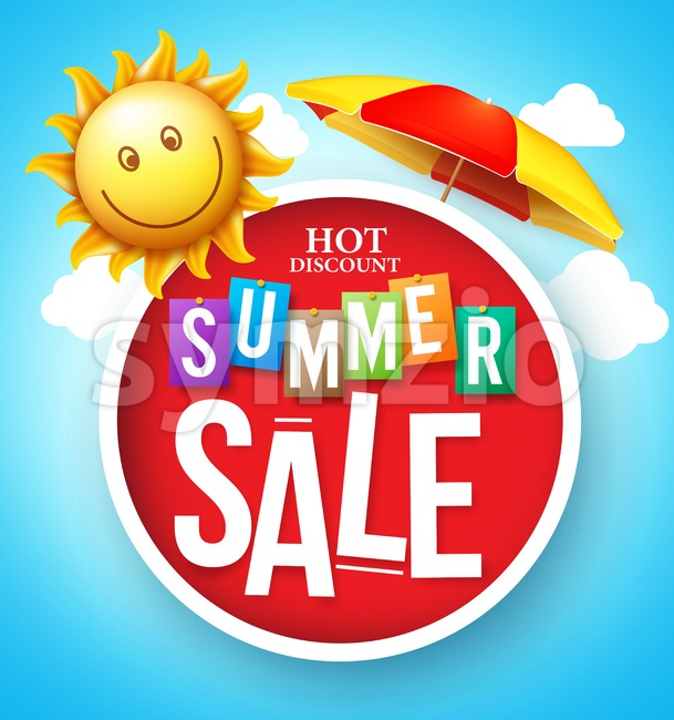 Summer Sale Hot Discount Vector in Red Circle Floating Stock Vector