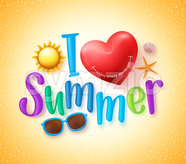 I Love Summer Vector Design Concept Stock Vector