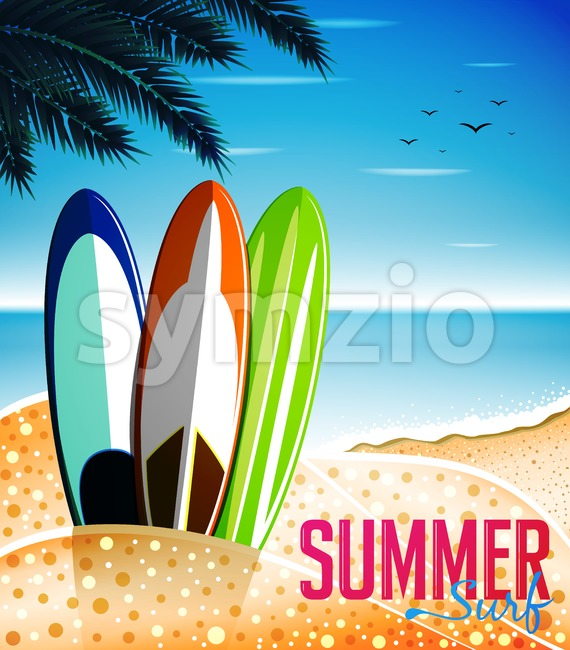 Summer Surf at the Beach Design with Three Beautiful Designed Surfboards. Vector Illustrations