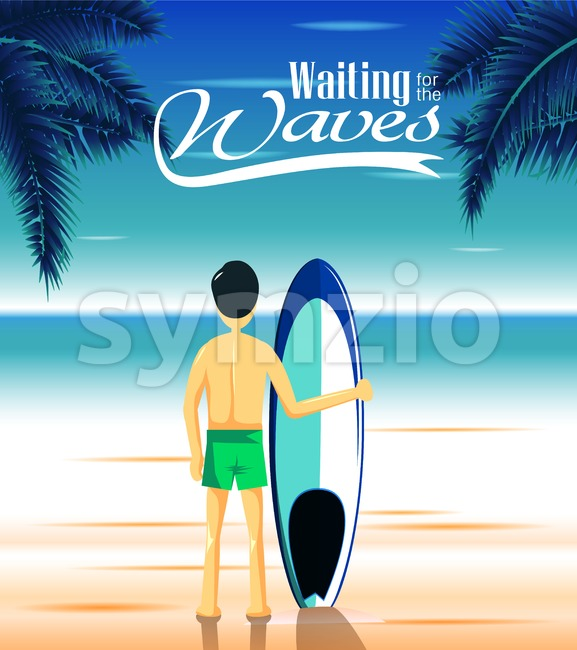 Seascape with Man Surfer Holding Blue Surfboard Stock Vector