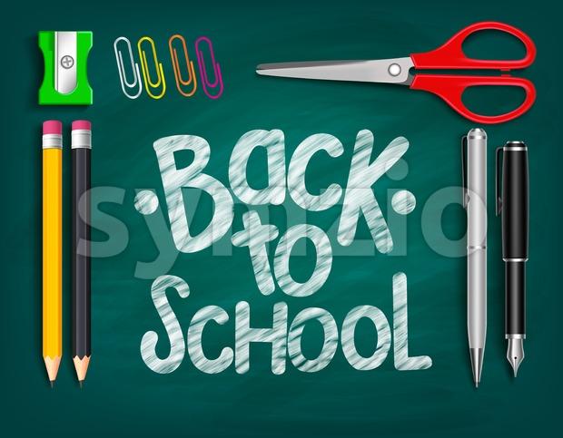 Vector Back to School Title Words Written Stock Vector