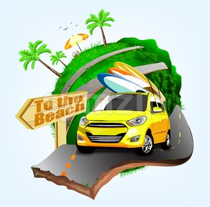 Summer Surfing Adventures Poster Design with Yellow Car Stock Vector
