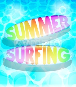 Colorful Summer Surfing Design Stock Vector