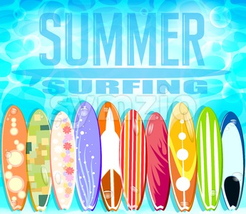 Summer Surfing with Ten Beautiful Surfboards Stock Vector