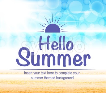 Beautiful Seascape with Hello Summer Text Stock Vector
