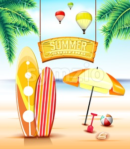 Hanging Arc Summer Surfing Sign Stock Vector