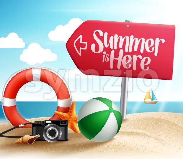 Summer Beach Destination Vector Design in the Seashore with Roadsign Arrow and Summer Items in the Sand. Vector Illustration. This colorful summer vector ...