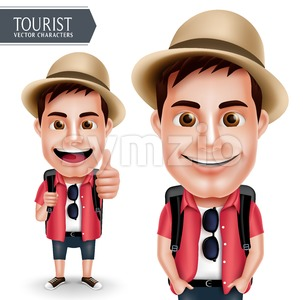 Tourist Traveler Man Vector Character Wearing Casual Stock Vector
